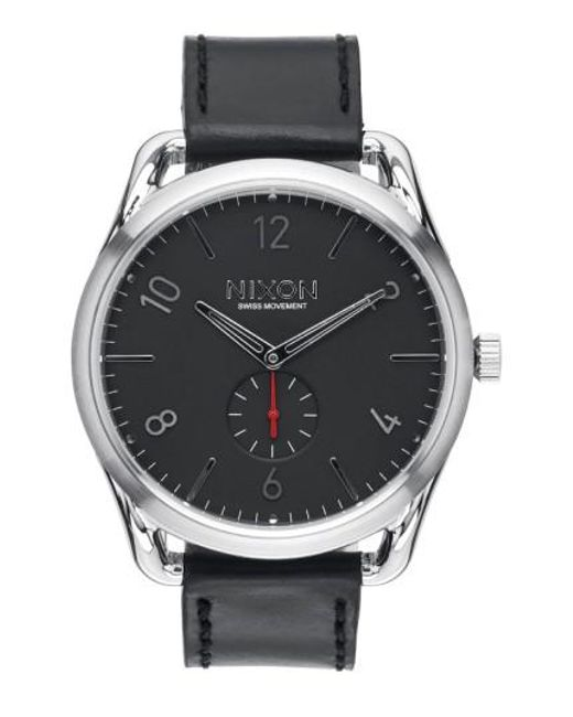 Nixon | Black 'the C45' Leather Strap Watch for Men | Lyst