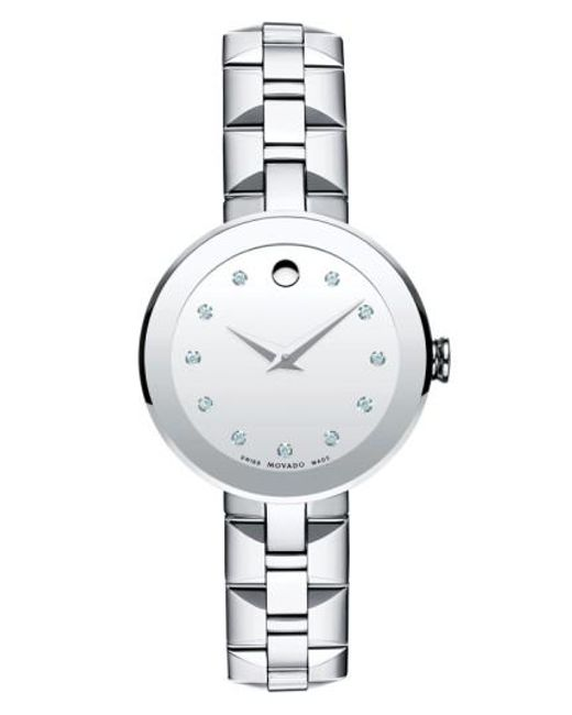 Movado   Metallic 'sapphire' Diamond Index Bracelet Watch   Lyst