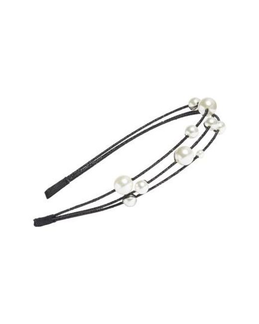 Cara   Black Imitation Pearl Headband   Lyst