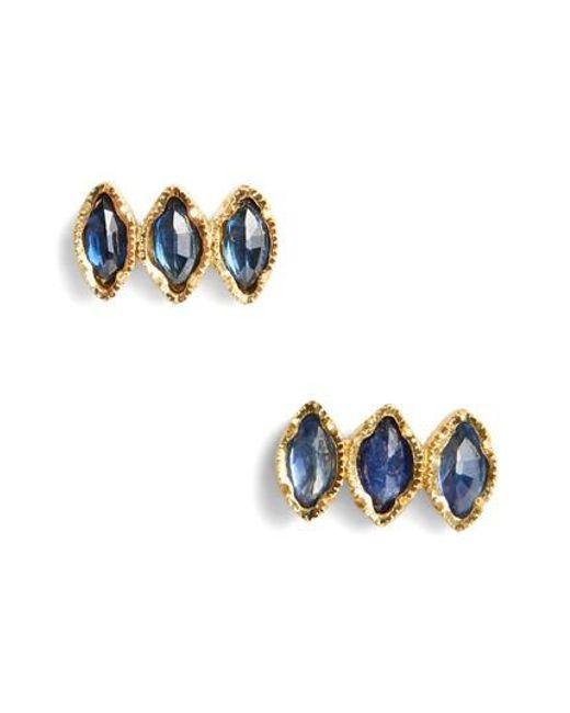 Brooke Gregson - Metallic Triple Sapphire Marquise Stud Earrings - Lyst