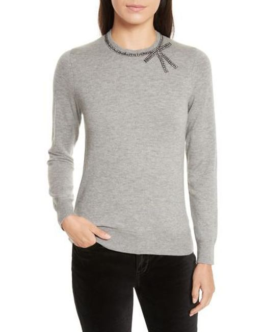 Kate Spade | Gray Bow Embellished Sweater | Lyst