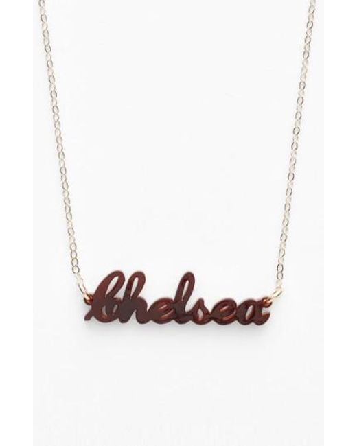 Moon & Lola | Red 'script Font' Personalized Nameplate Pendant Necklace | Lyst