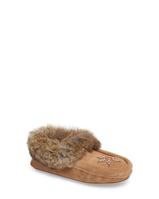 Manitobah Mukluks - Black 'kanada' Genuine Rabbit Fur & Suede Moccasin Slipper - Lyst