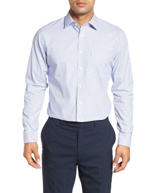 Nordstrom Blue Trim Fit Non-iron Stripe Dress Shirt for men