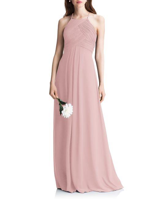 Levkoff Pink Halter Chiffon A-line Gown