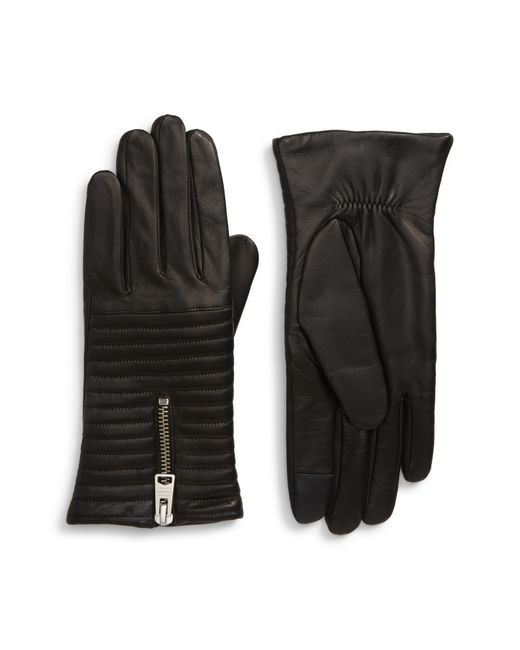 AllSaints Black Estella Quilted Leather Touchscreen Gloves
