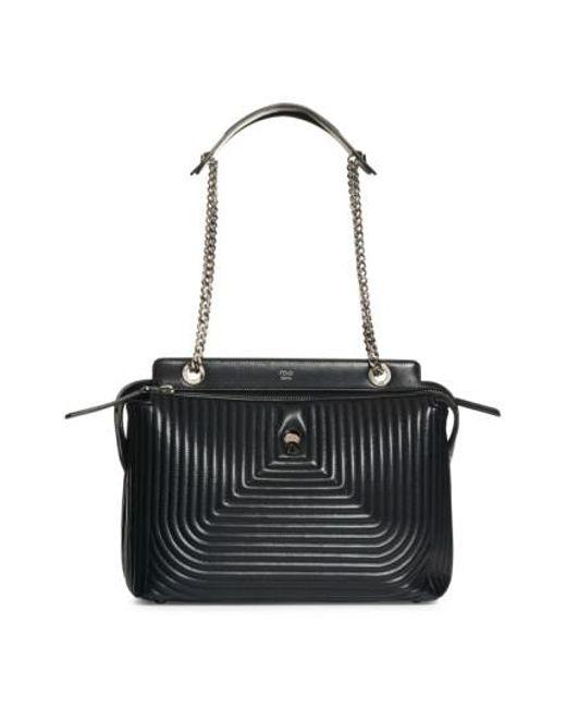 Fendi | Black Dotcom Quilted Lambskin Leather Shoulder Bag | Lyst