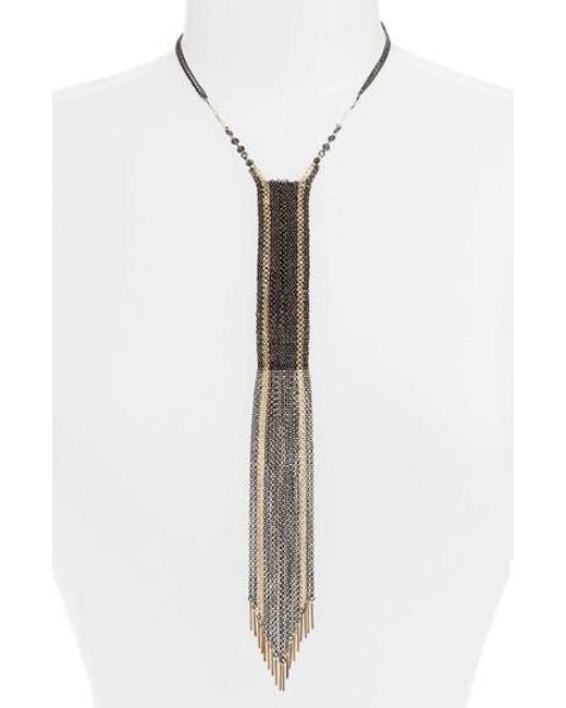 Nakamol   Metallic Mhart Woven Chain Y-necklace   Lyst