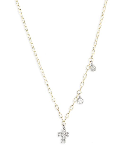 Meira T - Metallic Diamond Cross Pendant Necklace - Lyst