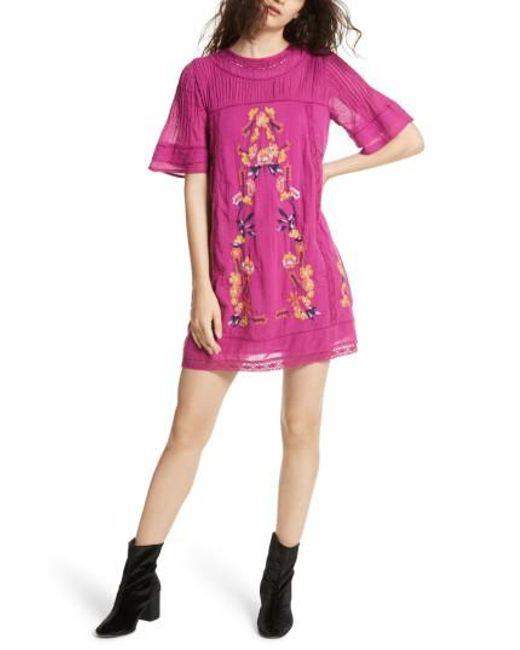 Free People | Purple 'perfectly Victorian' Minidress | Lyst