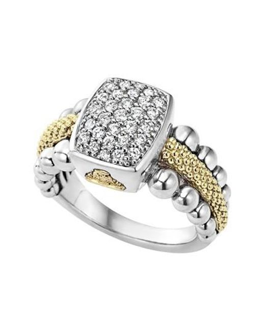 Lagos | Metallic Diamond Caviar Square Ring | Lyst