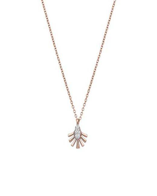 Kismet by Milka - Metallic Diamond Palm Leaf Pendant Necklace - Lyst