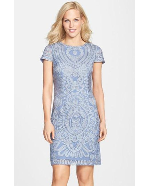 JS Collections | Blue Short Sleeve Soutache Cocktail Dress | Lyst