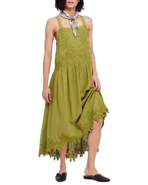 Free People - Green In Your Arms Applique Maxi Dress - Lyst