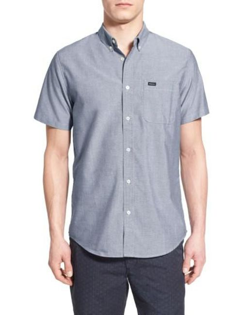 RVCA   Gray 'that'll Do' Slim Fit Short Sleeve Oxford Shirt for Men   Lyst