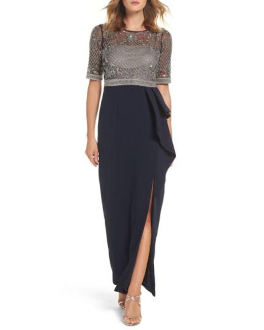 Adrianna Papell | Blue Beaded Gown | Lyst