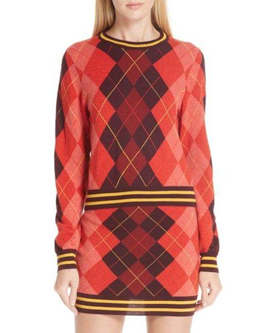 Rag & Bone - Red Dex Argyle Merino Wool Sweater - Lyst
