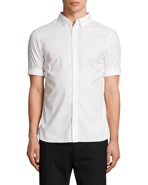 AllSaints - White Redondo Slim Fit Sport Shirt for Men - Lyst
