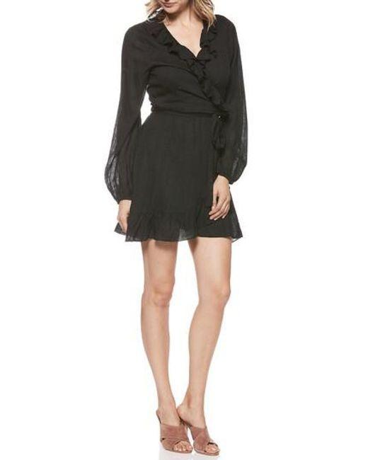 PAIGE - Black Shawna Ruffle Wrap Dress - Lyst