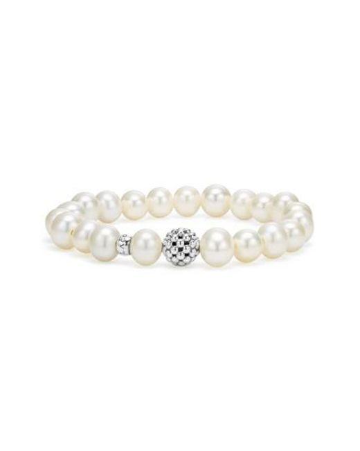 Lagos - White Bead Stretch Bracelet - Lyst