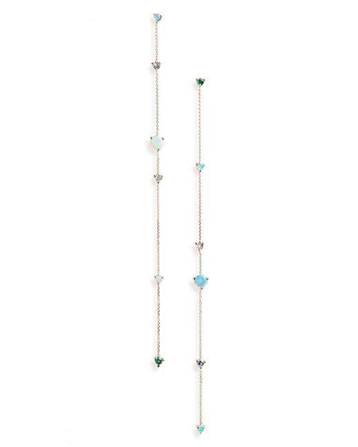 Wwake - White Linear Chain Earrings - Lyst