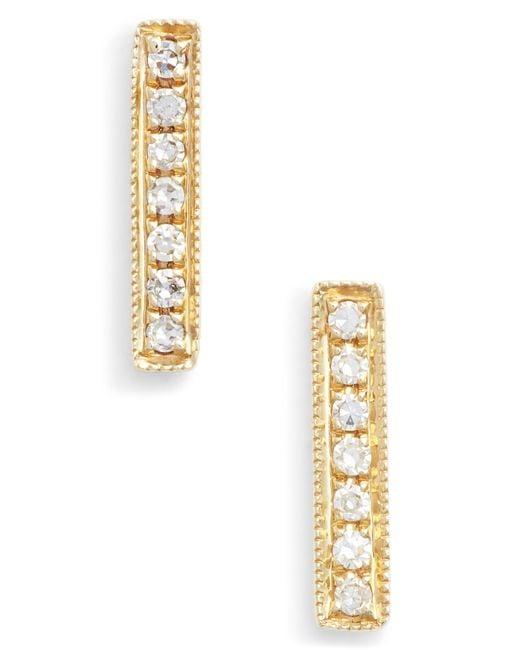 Dana Rebecca Metallic Sylvie Rose Diamond Bar Stud Earrings