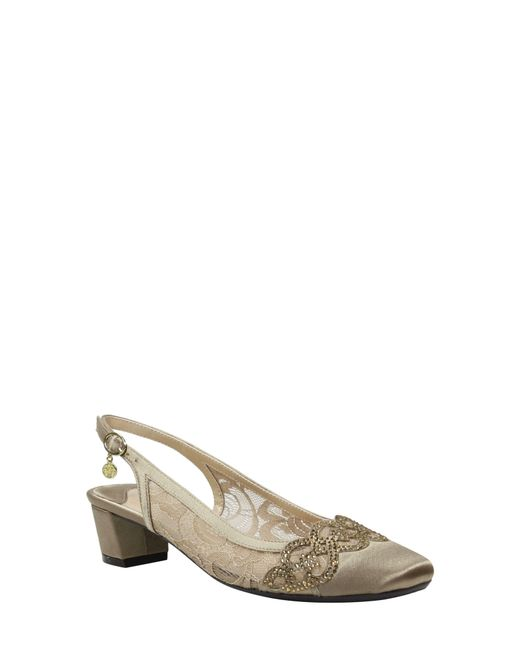 J. Reneé Natural Faleece Crystal Embellished Slingback Pump