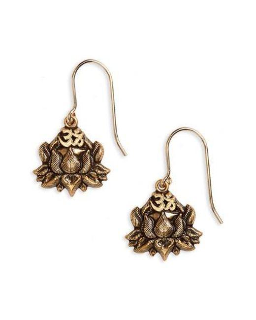 ALEX AND ANI - Metallic Lotus Peace Petals Drop Earrings - Lyst