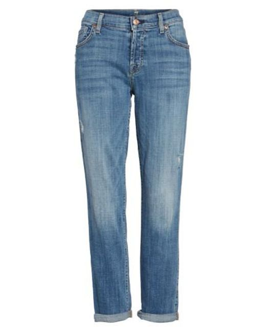 7 For All Mankind   Blue 7 For All Mankind 'josefina' Boyfriend Jeans   Lyst