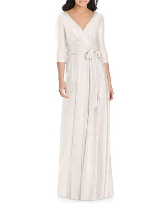 Dessy Collection - Pink All Soho Shimmer Faux Wrap Gown - Lyst