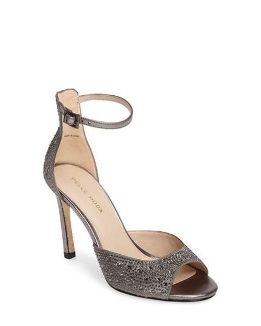 Pelle Moda | Metallic Crystal Embellished Ankle Strap Sandal | Lyst