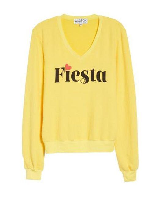 Wildfox - Yellow Fiesta V-neck Baggy Beach Pullover - Lyst