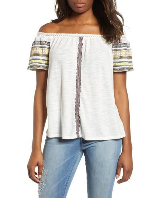Lucky Brand - White Lucky Embroidered Off The Shoulder Cotton Top - Lyst