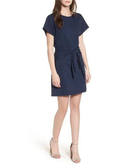 Lush - Blue Tie Waist T-shirt Dress - Lyst