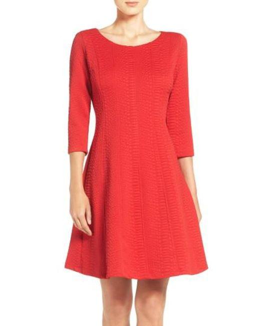 Taylor Dresses | Red Jacquard Knit Fit & Flare Dress | Lyst