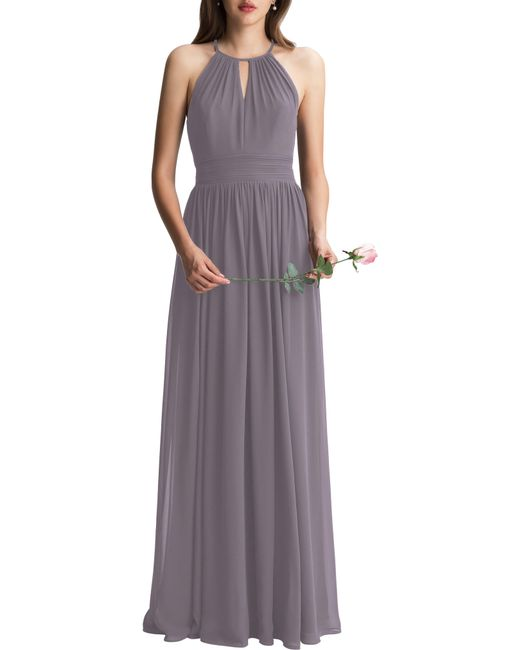 Levkoff Multicolor Keyhole Neck Chiffon A-line Gown