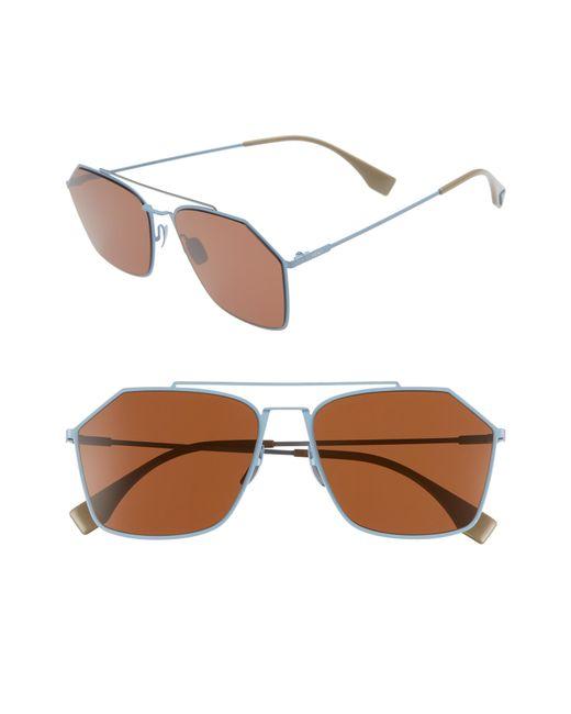 Fendi - Blue 59mm Navigator Sunglasses - Azure for Men - Lyst