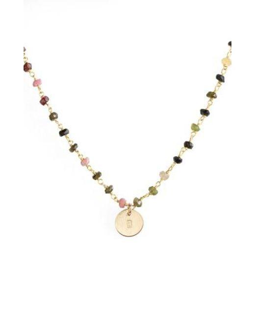 Nashelle   Multicolor 14k-gold Fill Mini Initial Disc Tourmaline Chain Necklace   Lyst
