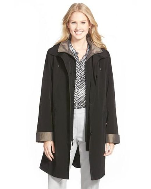Gallery | Black A-line Raincoat With Detachable Hood & Liner | Lyst