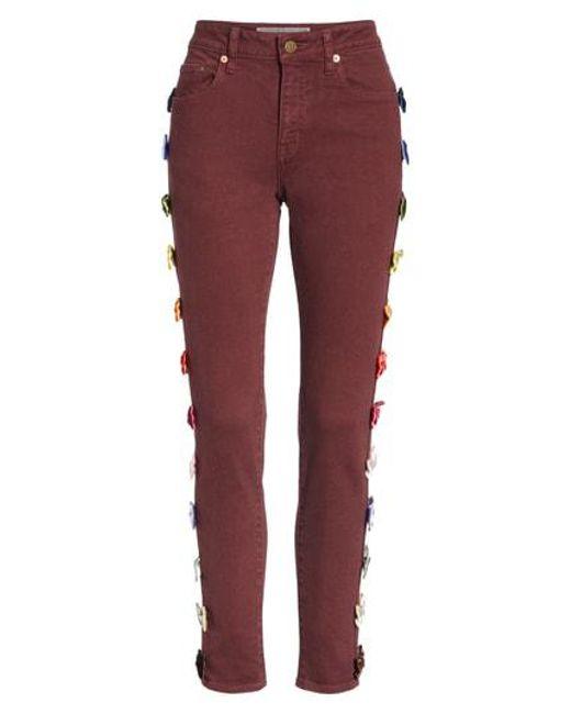 Tu Es Mon Tresor - Red Velvet Side Bow Jeans - Lyst