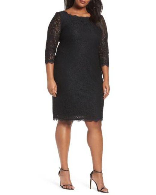 Adrianna Papell | Black Lace Overlay Sheath Dress | Lyst
