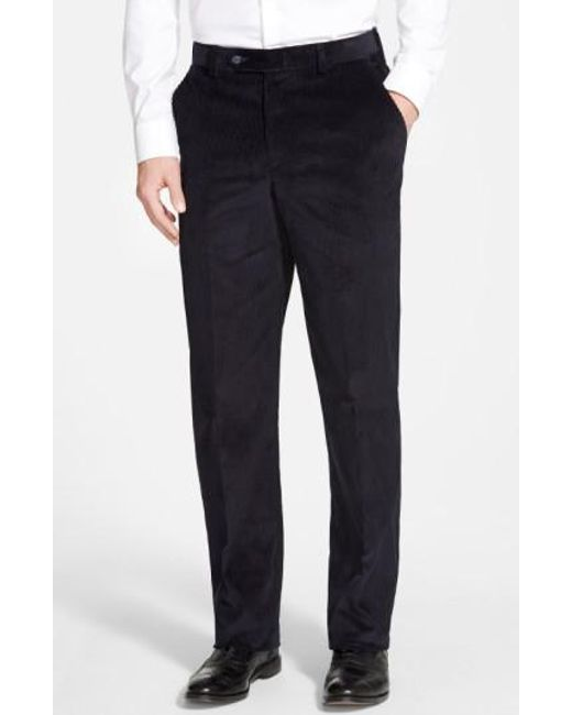 Berle | Blue Flat Front Corduroy Trousers for Men | Lyst