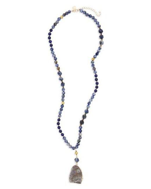 Panacea | Blue Stone Sunstone Pendant Necklace | Lyst