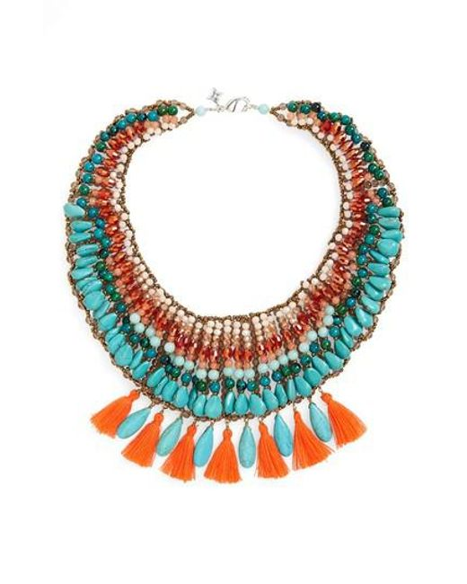Panacea | Blue Tassel & Stone Statement Necklace | Lyst