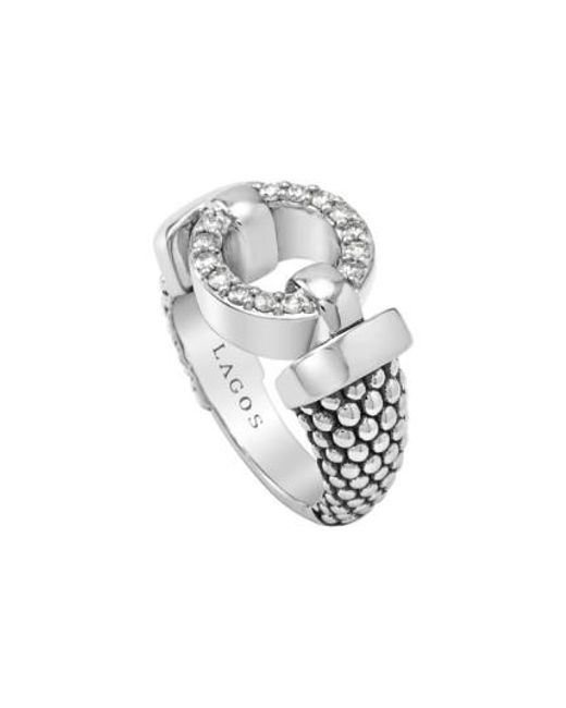 Lagos | Metallic 'enso - Circle Game' Diamond Caviar Ring | Lyst