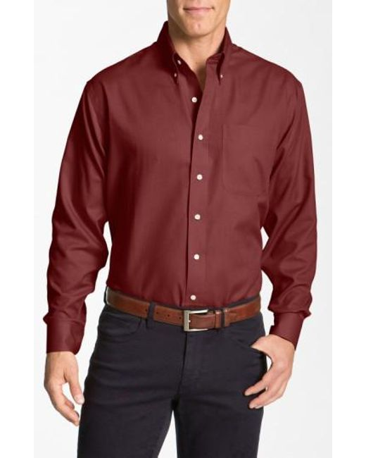 Cutter & Buck   Red 'nailshead - Epic Easy Care' Classic Fit Sport Shirt for Men   Lyst