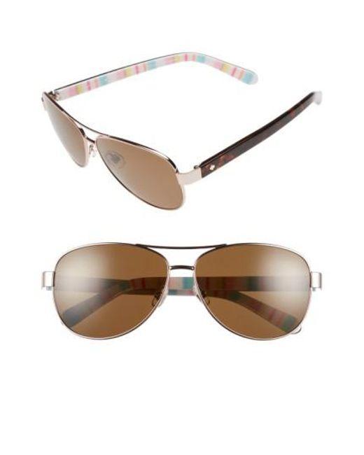 Kate Spade - Brown 'dalia' 58mm Polarized Aviator Sunglasses - Lyst