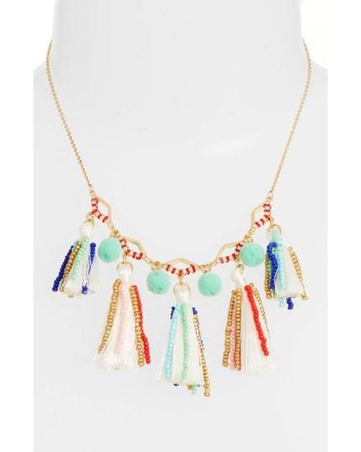 Rebecca Minkoff - Metallic Tassel & Pompom Necklace - Lyst