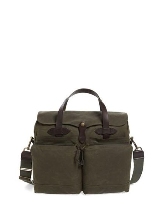 Filson | Green '24 Hour' Tin Cloth Briefcase for Men | Lyst