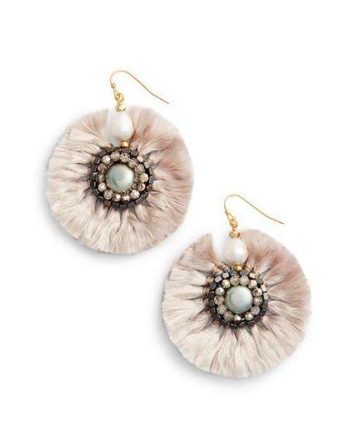 Nakamol - Gray Fringe Earrings - Lyst